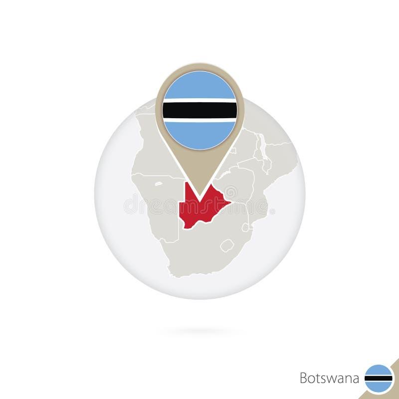 Mapa y bandera de Botswana en círculo Mapa bandera de Botswana, Botswana stock de ilustración