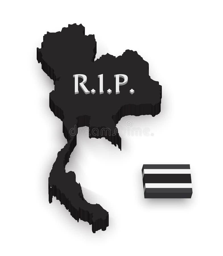 mapa y bandera de 3D Tailandia Resto en paz esté de luto al rey de Tailandia desaparecen ilustración del vector