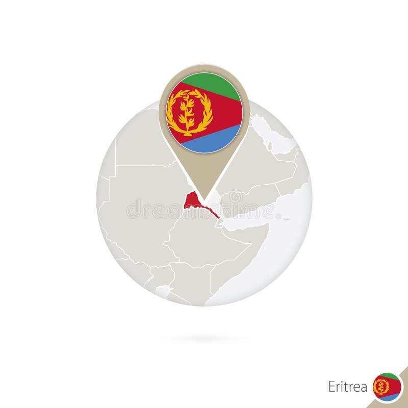 Mapa y bandera de Eritrea en círculo Mapa de Eritrea, perno de la bandera de Eritrea libre illustration