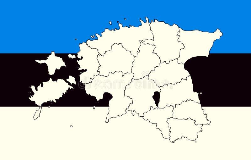 Mapa y bandera de Estonia libre illustration