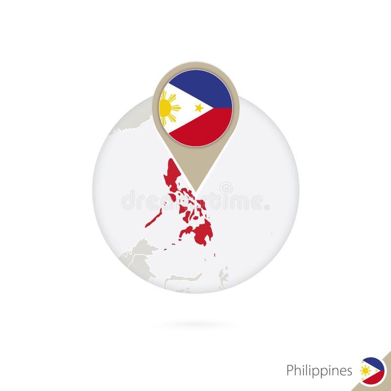 Mapa y bandera de Filipinas en círculo Mapa perno de la bandera de Filipinas, Filipinas Mapa de Filipinas en el estilo del globo stock de ilustración