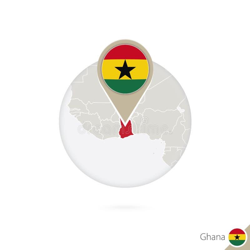 Mapa y bandera de Ghana en círculo Mapa perno de la bandera de Ghana, Ghana correspondencia ilustración del vector