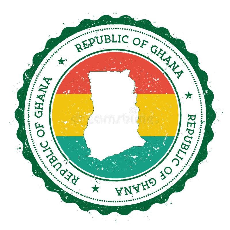 Mapa y bandera de Ghana en sello de goma del vintage de ilustración del vector