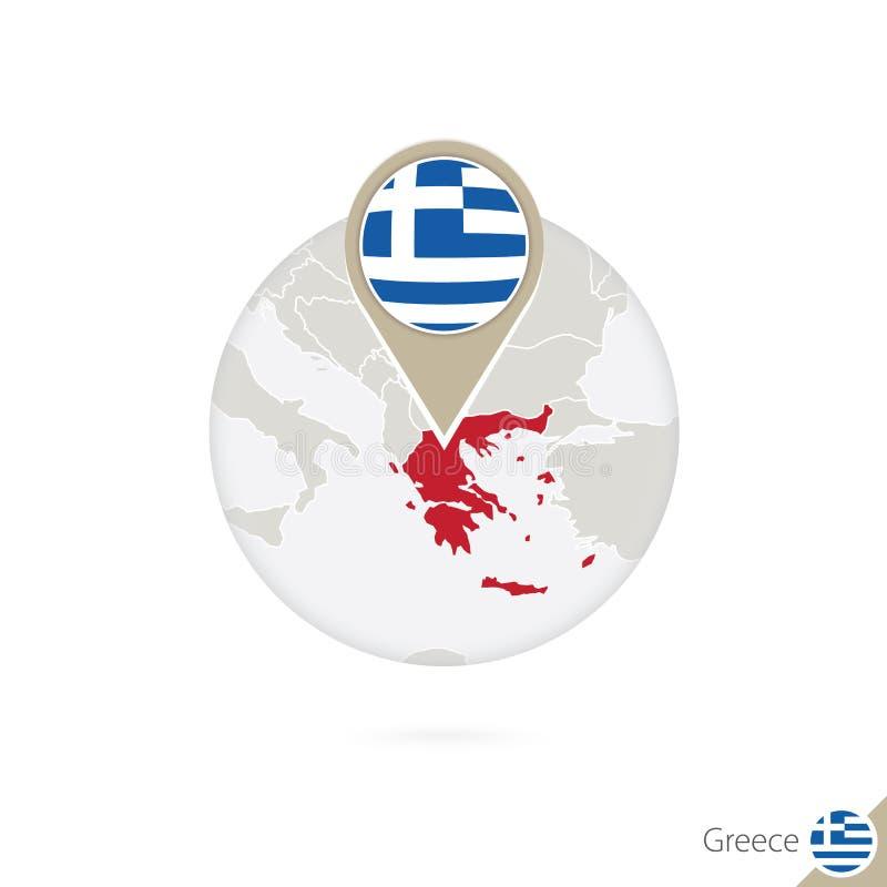 Mapa y bandera de Grecia en círculo Mapa perno de la bandera de Grecia, Grecia M ilustración del vector