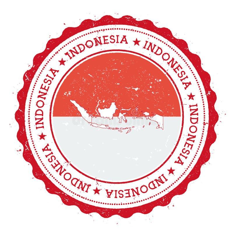Mapa y bandera de Indonesia en sello de goma del vintage de stock de ilustración