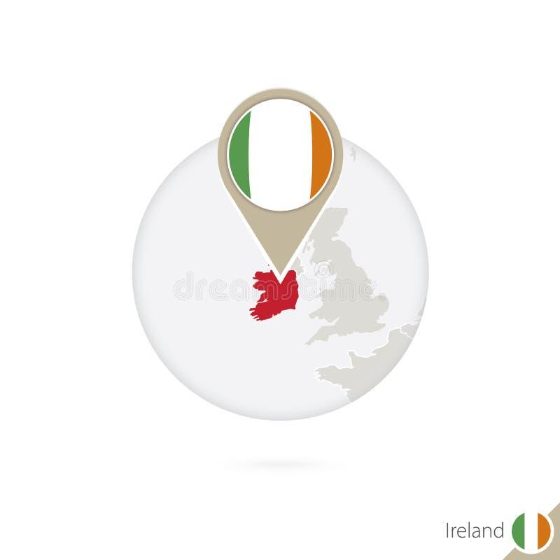 Mapa y bandera de Irlanda en círculo Mapa perno de la bandera de Irlanda, Irlanda libre illustration