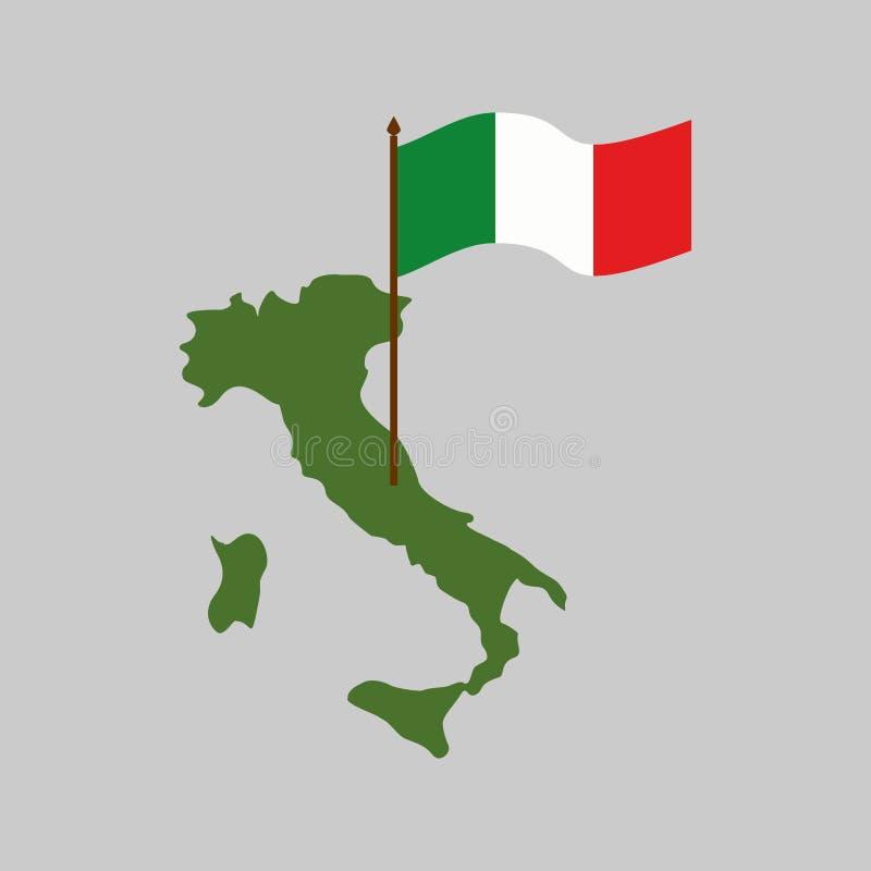 Mapa y bandera de Italia Estado del italiano de la geografía stock de ilustración