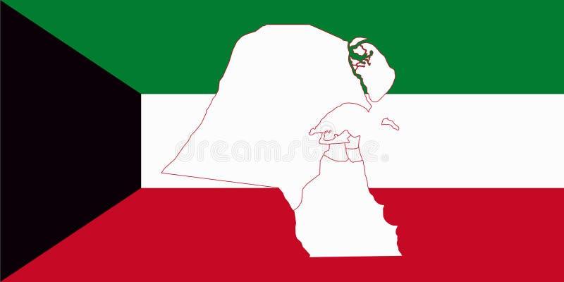Mapa y bandera de Kuwait ilustración del vector