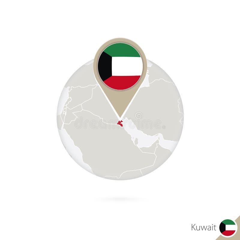Mapa y bandera de Kuwait en círculo Mapa perno de la bandera de Kuwait, Kuwait Mapa de Kuwait en el estilo del globo libre illustration