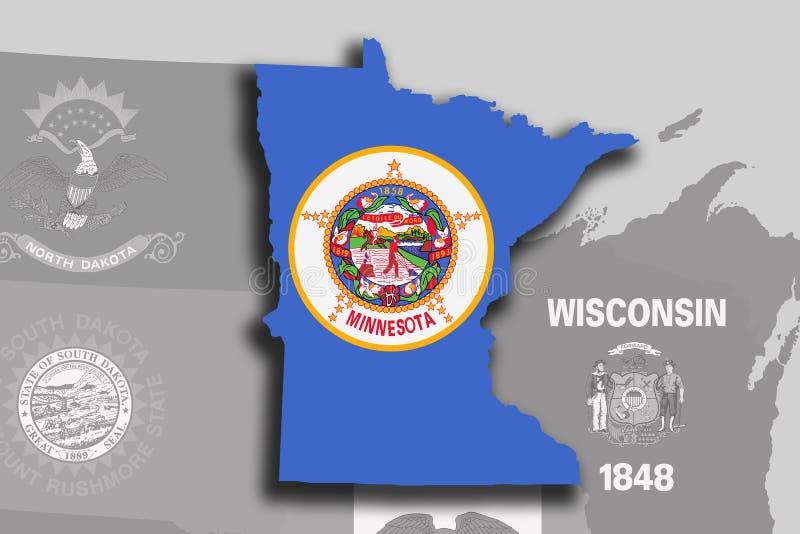 Mapa y bandera de Minnesota stock de ilustración