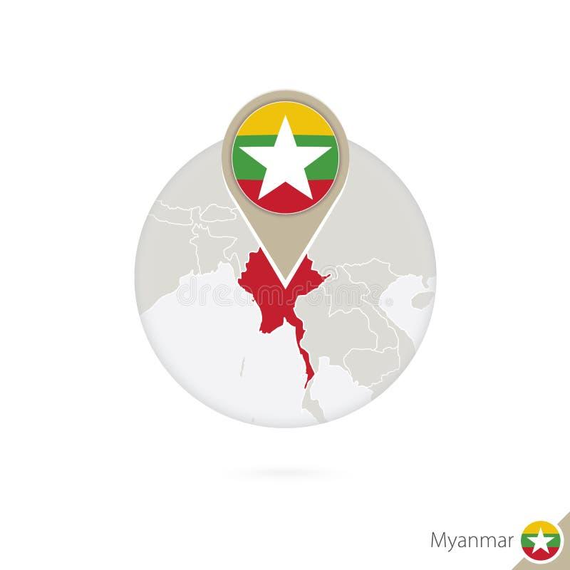 Mapa y bandera de Myanmar en círculo Mapa perno de la bandera de Myanmar, Myanmar Mapa de Myanmar en el estilo del globo libre illustration