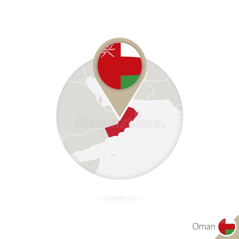 Mapa y bandera de Omán en círculo Mapa perno de la bandera de Omán, Omán Mapa de Omán en el estilo del globo stock de ilustración