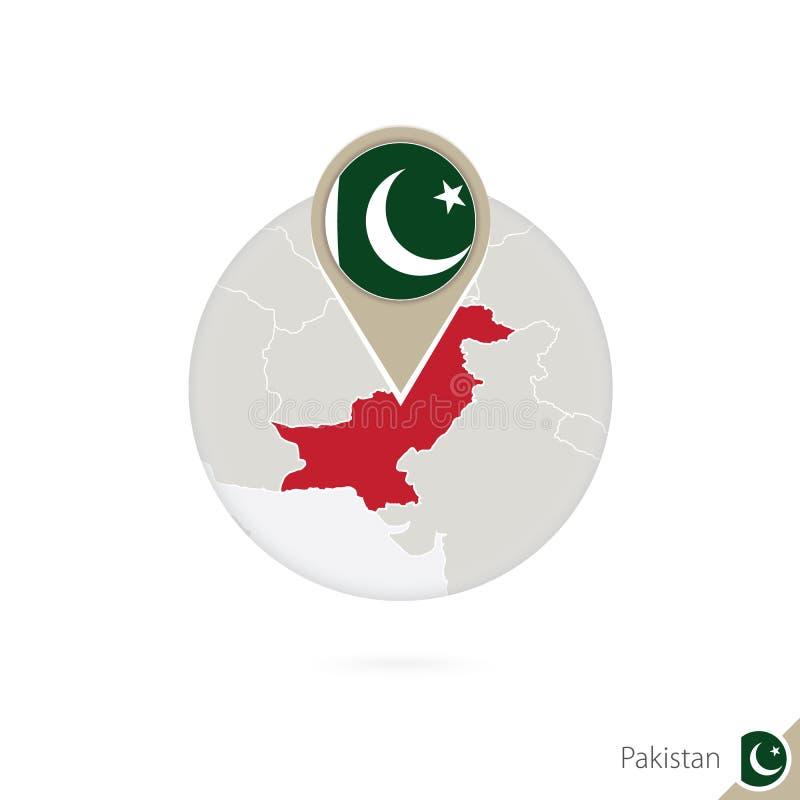 Mapa y bandera de Paquistán en círculo Mapa perno de la bandera de Paquistán, Paquistán Mapa de Paquistán en el estilo del globo libre illustration