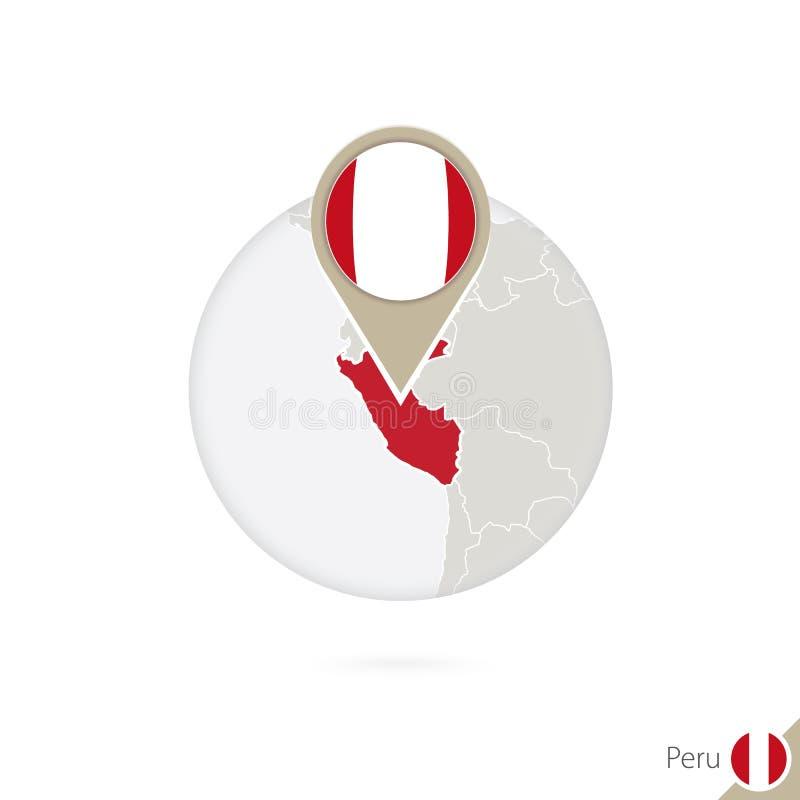 Mapa y bandera de Perú en círculo Mapa perno de la bandera de Perú, Perú Mapa de ilustración del vector