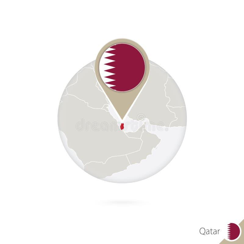 Mapa y bandera de Qatar en círculo Mapa perno de la bandera de Qatar, Qatar Mapa de Qatar en el estilo del globo stock de ilustración