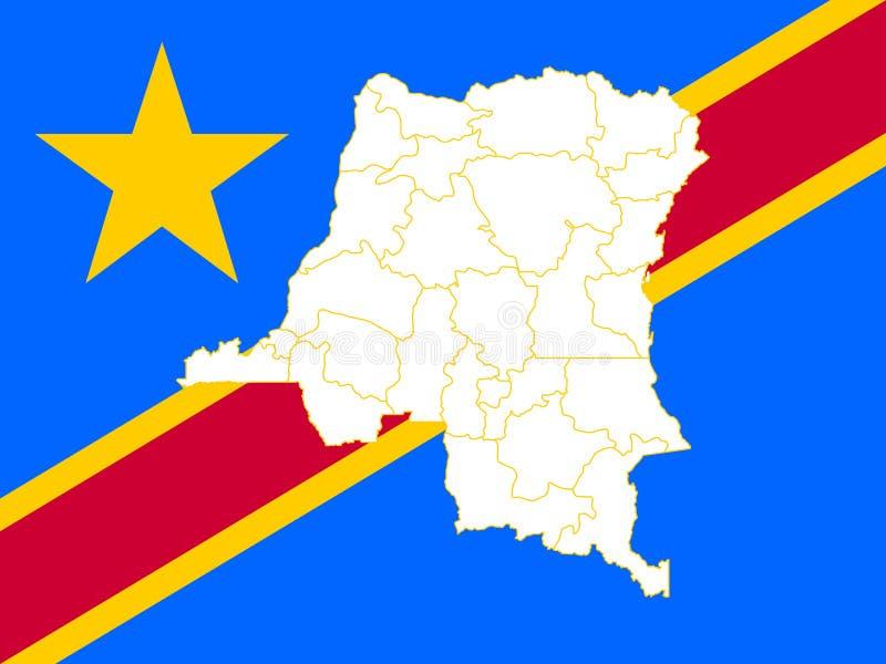 Mapa y bandera de República Democrática del Congo
