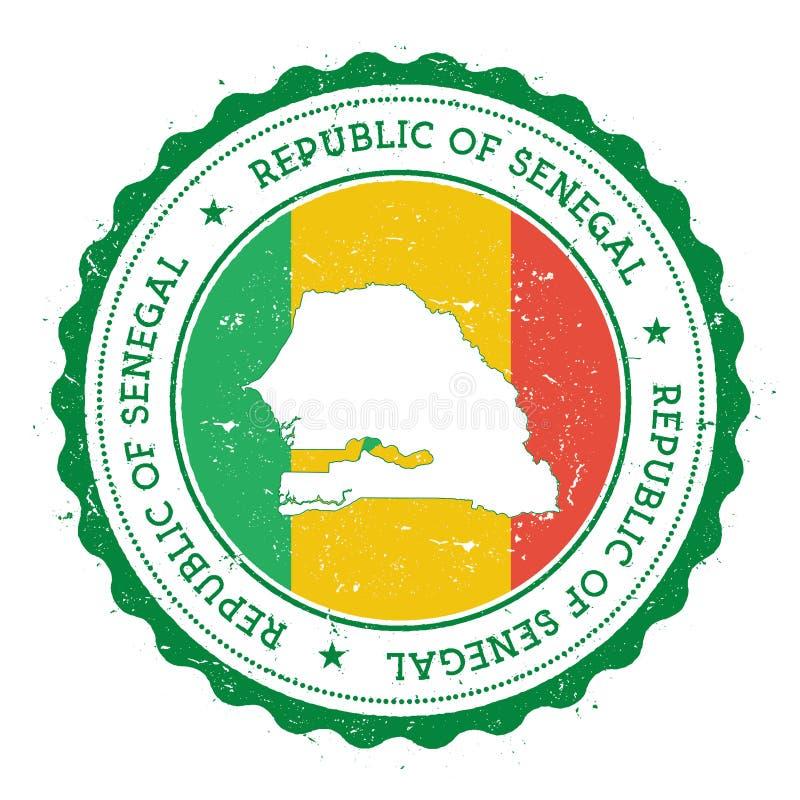 Mapa y bandera de Senegal en sello de goma del vintage de ilustración del vector