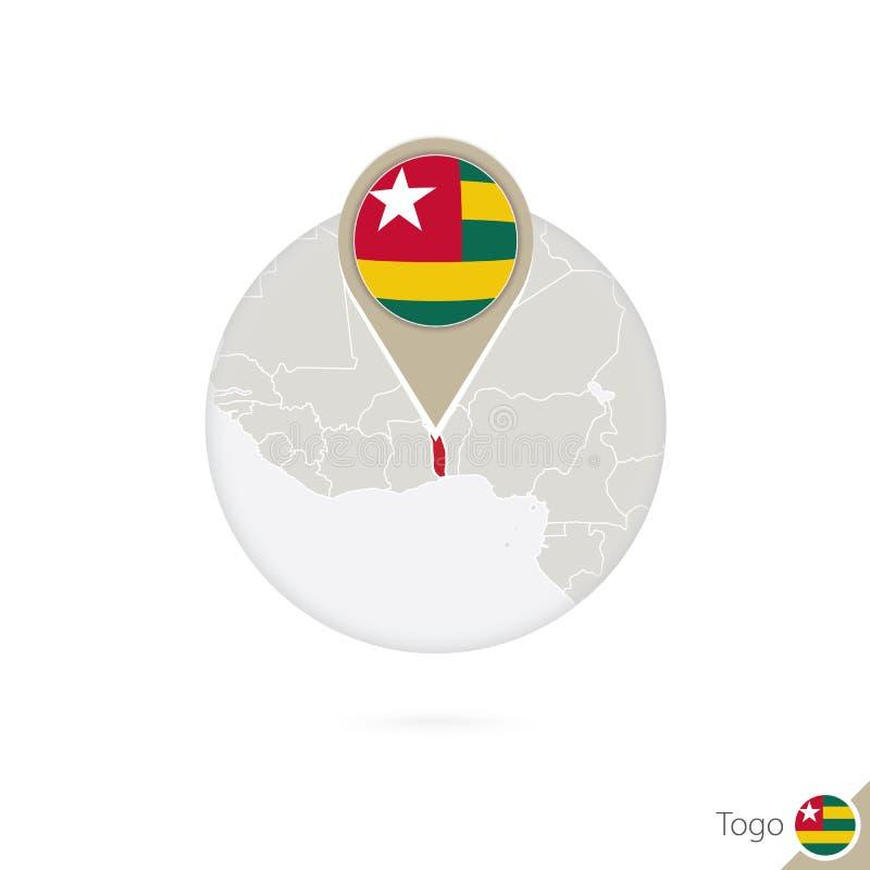Mapa y bandera de Togo en círculo Mapa perno de la bandera de Togo, Togo Mapa de libre illustration