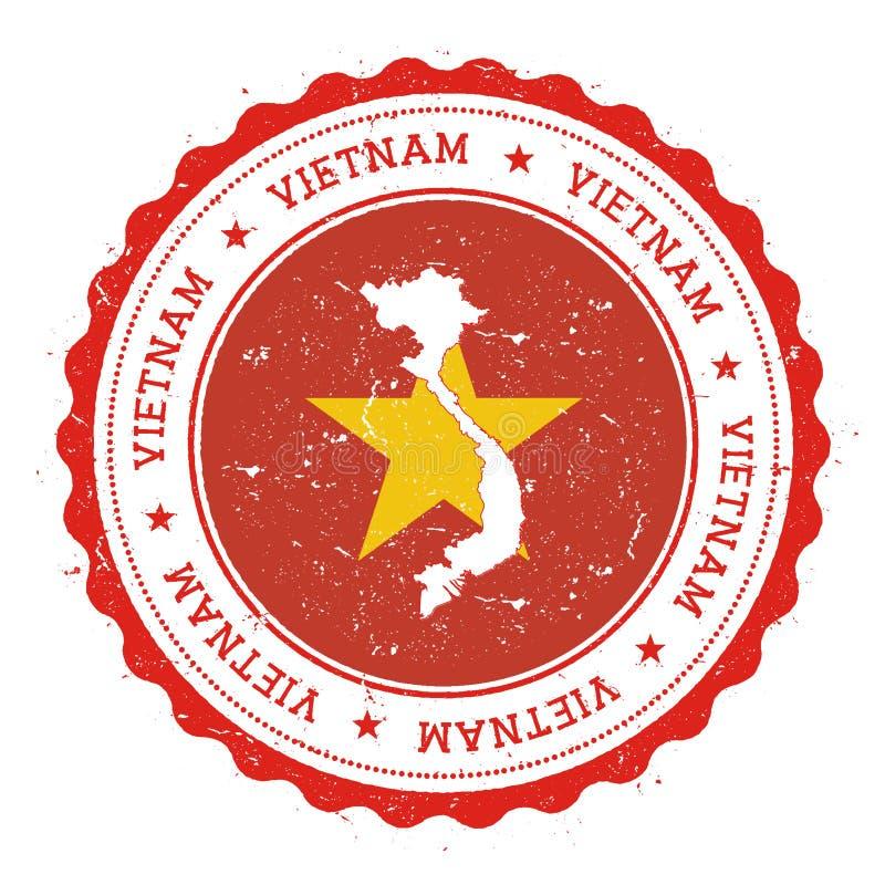 Mapa y bandera de Vietnam en sello de goma del vintage de ilustración del vector