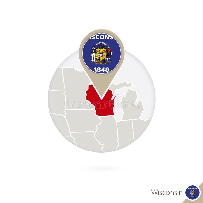 Mapa y bandera del estado de Wisconsin los E.E.U.U. en círculo ilustración del vector