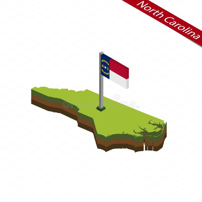 Mapa y bandera del norte de Carolina Isometric Ilustración del vector ilustración del vector