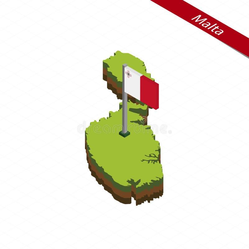 Mapa y bandera isométricos de Malta Ilustración del vector ilustración del vector
