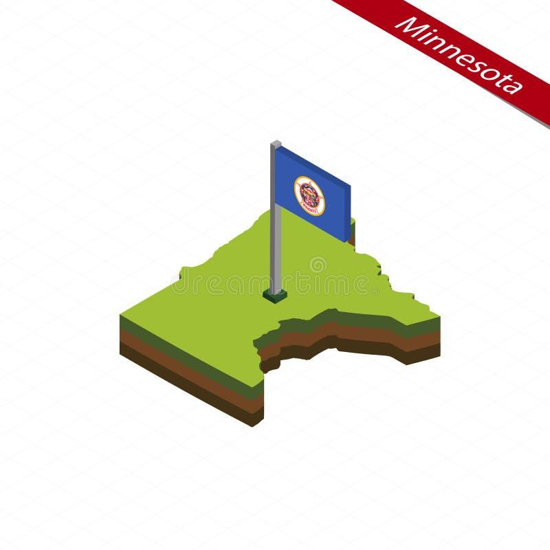 Mapa y bandera isométricos de Minnesota Ilustración del vector stock de ilustración