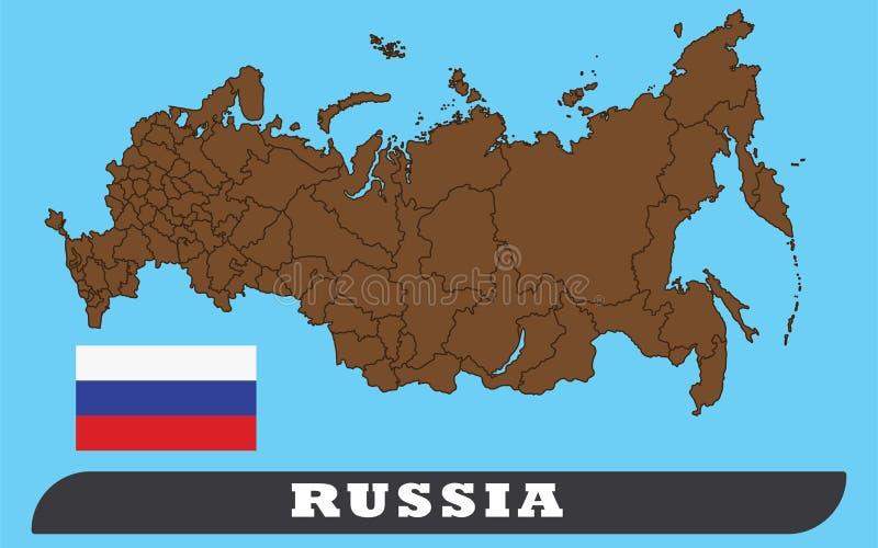 Mapa y bandera rusos stock de ilustración