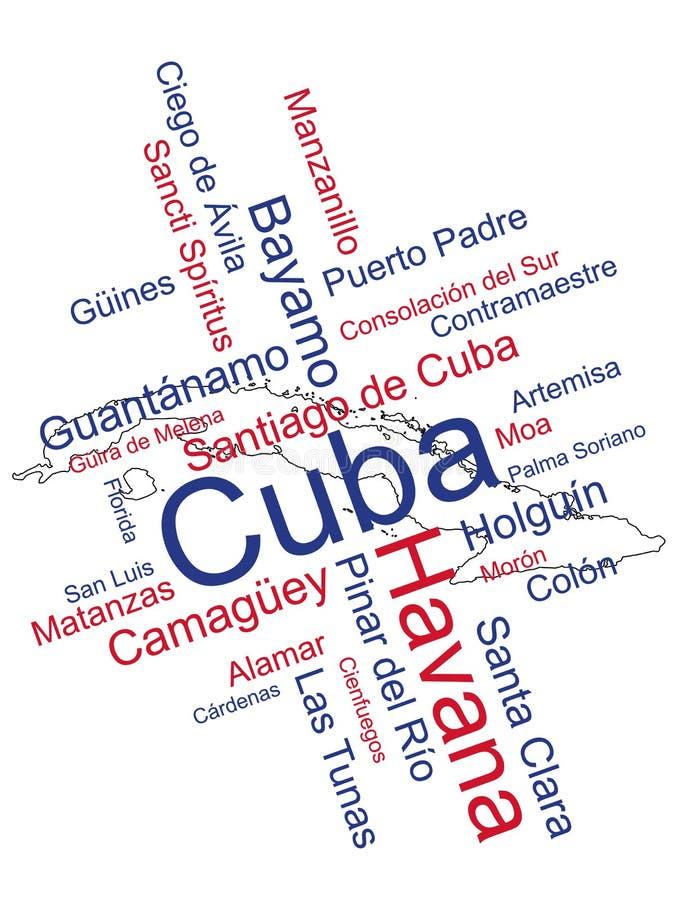 Mapa y ciudades de Cuba ilustración del vector
