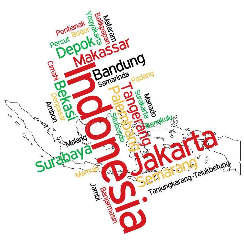 Mapa y ciudades de Indonesia stock de ilustración