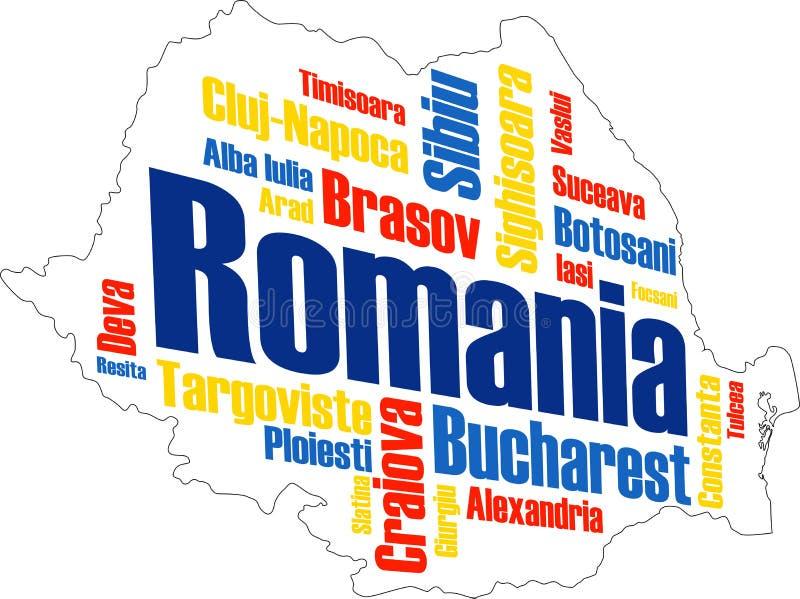 Mapa y ciudades de Rumania libre illustration