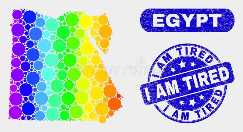 Mapa y desolación de Egipto del mosaico del espectro soy sello cansado del sello ilustración del vector