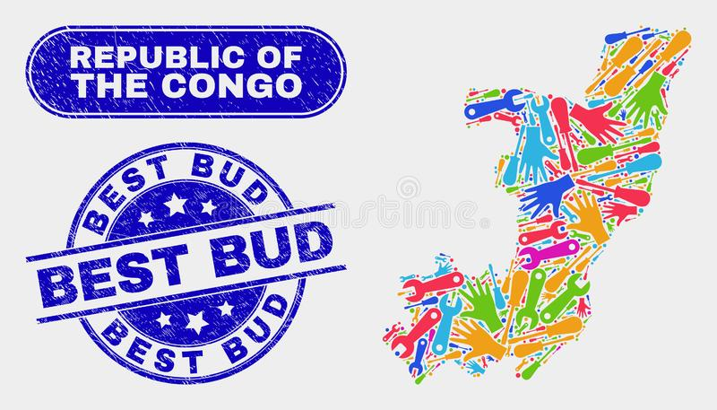 Mapa y desolación mejor Bud Stamps del República del Congo de las herramientas stock de ilustración