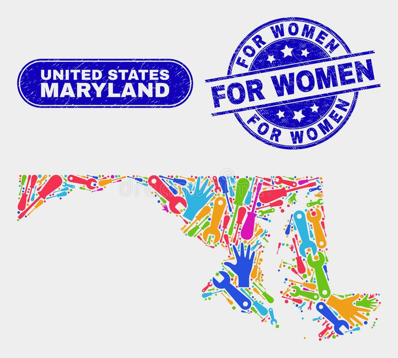 Mapa y Grunge del estado de Maryland del servicio para los sellos de las mujeres stock de ilustración
