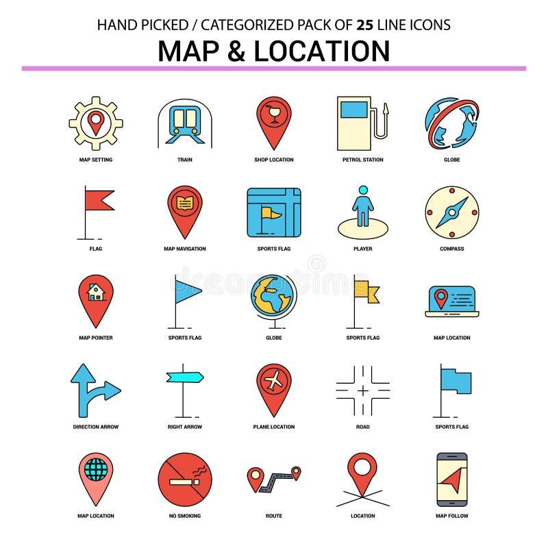 Mapa y línea plana sistema del icono - DES de la ubicación de los iconos del concepto del negocio stock de ilustración