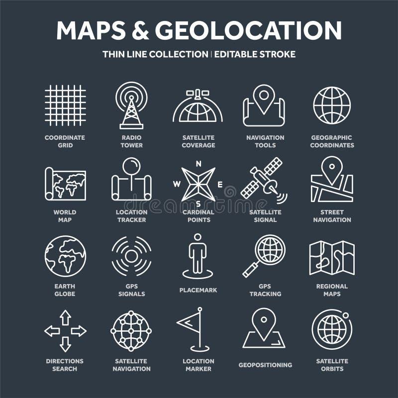 Mapa y navegación Coordenadas de GPS Iconos de la ubicación Línea arte libre illustration