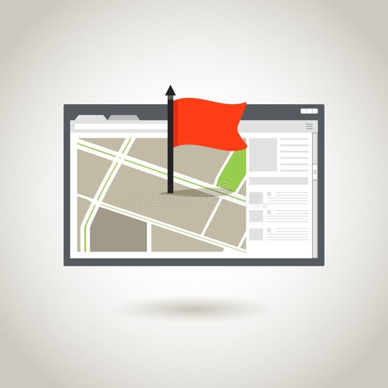 Mapa y una bandera roja ilustración del vector