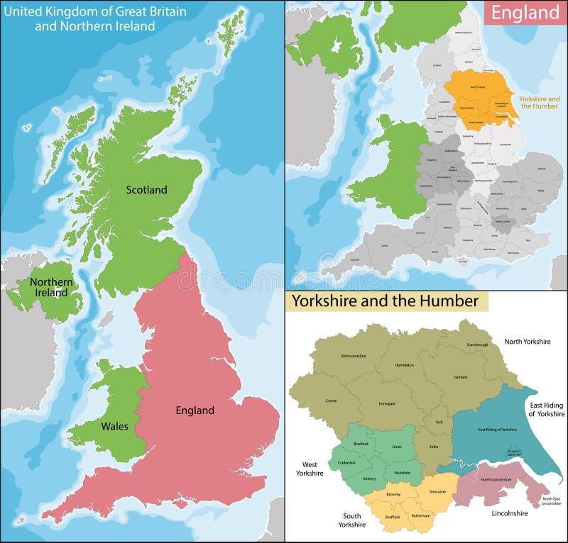 Mapa Yorkshire i Humber ilustracji