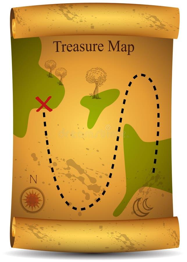 mapa złocisty skarb royalty ilustracja