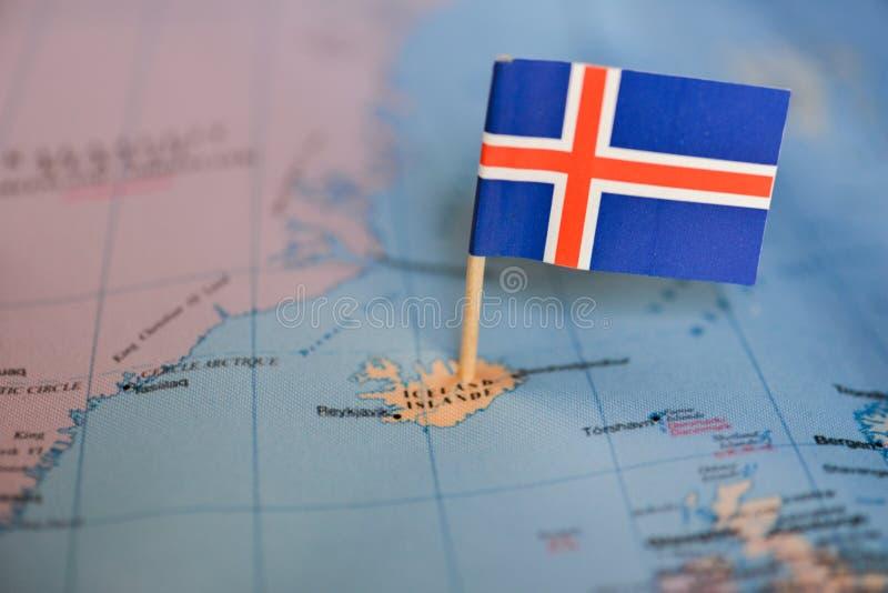 Mapa z flagą Iceland obrazy stock