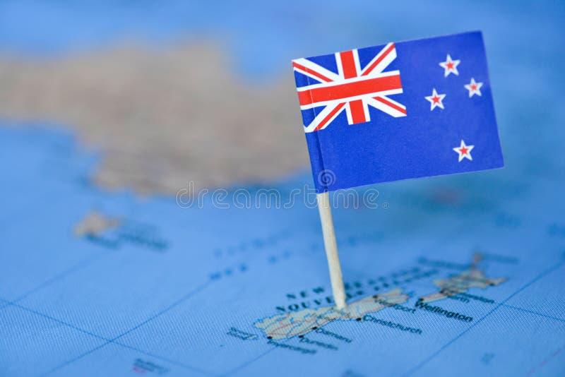 Mapa z flagą Nowa Zelandia obrazy stock