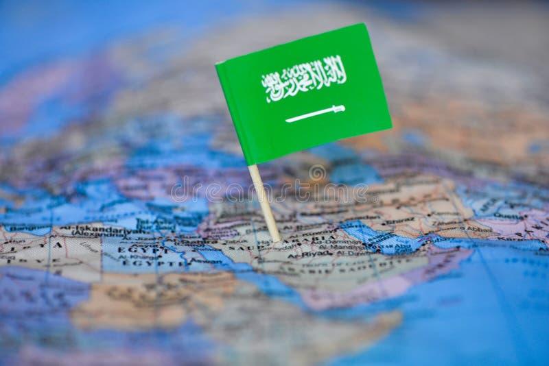 Mapa z flag? Arabia Saudyjska zdjęcie royalty free