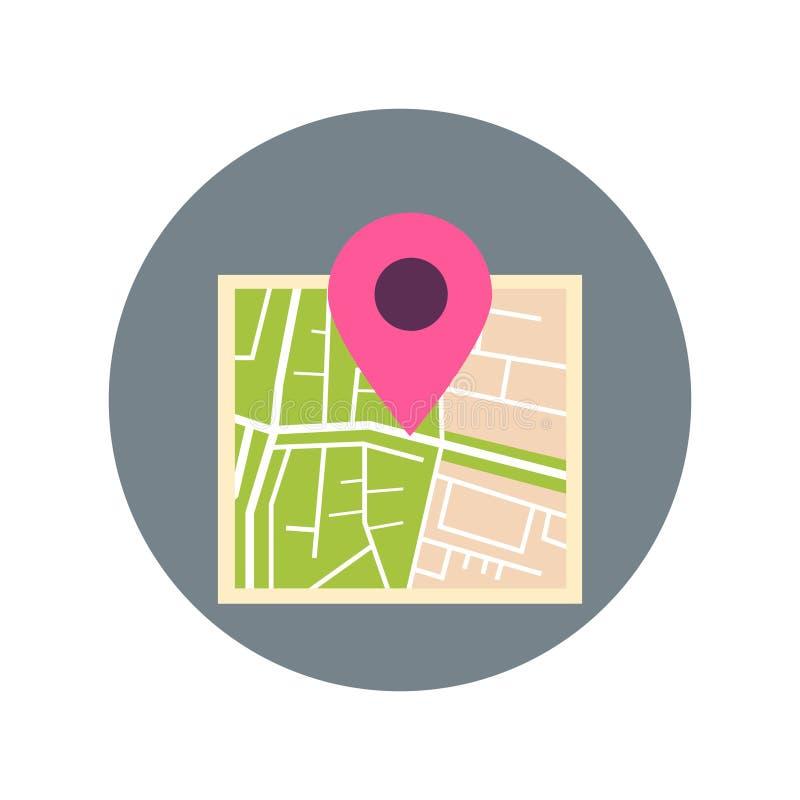 Mapa Z pointer szpilki ikony podróży miejsca przeznaczenia pojęciem ilustracji