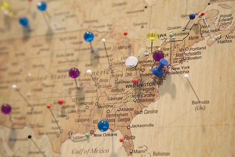Mapa z Szpilkami obraz stock