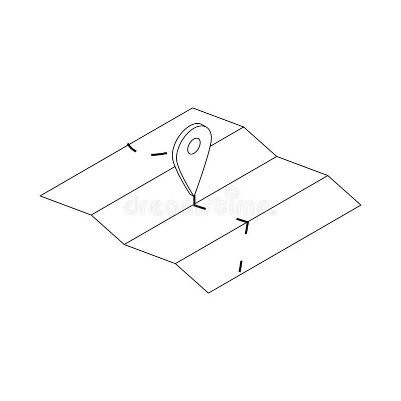 Mapa z wałkową pointer ikoną, isometric 3d styl ilustracja wektor