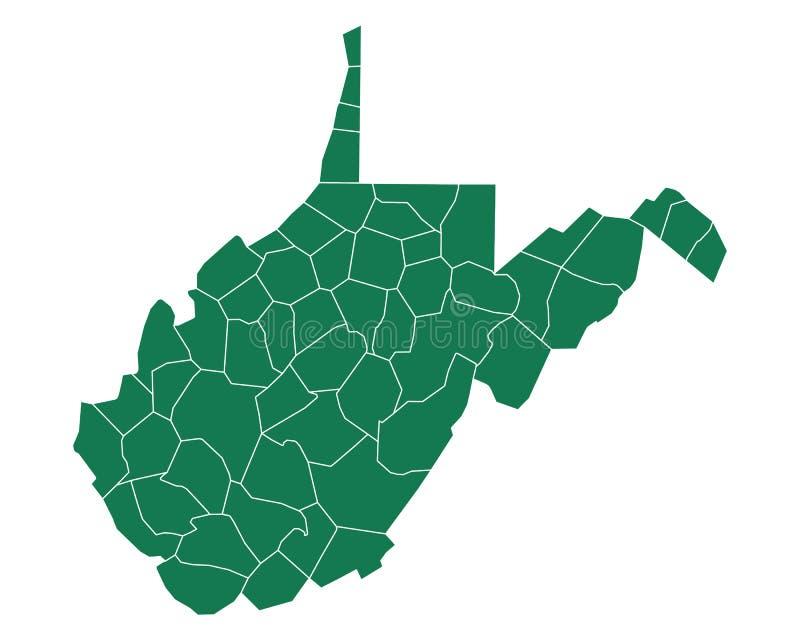 Mapa zachodni Virginia royalty ilustracja