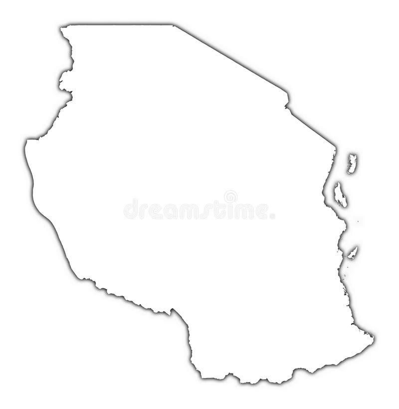 mapa zarys Tanzanii ilustracja wektor