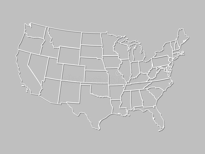 Mapa zlani stany Ameryka z białymi liniami z podcieniowaniem na szarym tle obrazy stock
