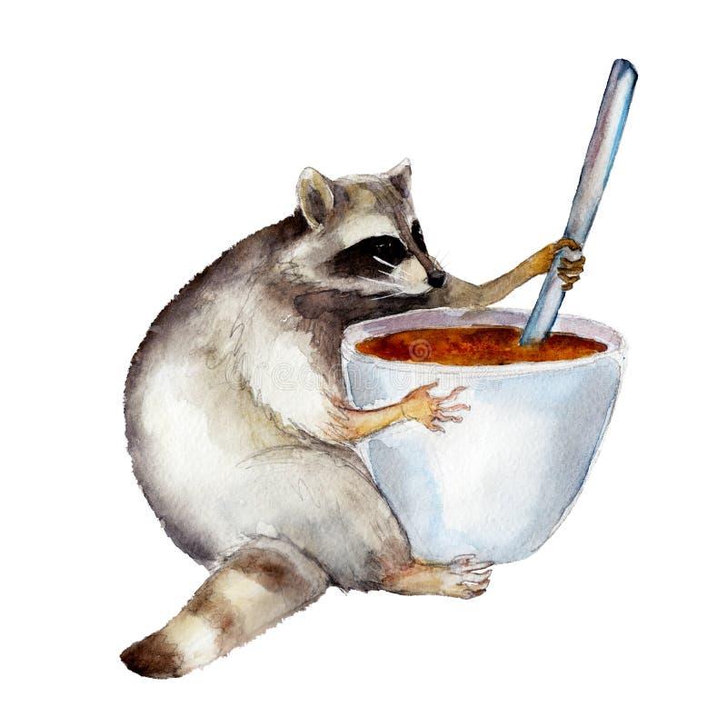 Mapache con la taza, carácter animal aislado en el fondo blanco libre illustration