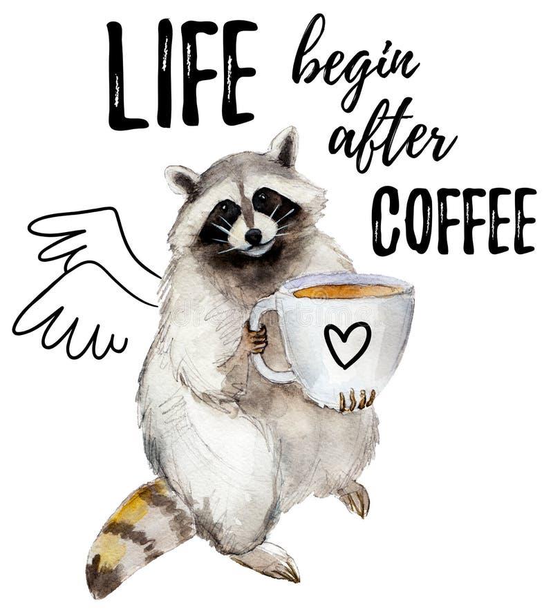 Mapache con la taza de café y el lema elegante, carácter animal aislado en blanco ilustración del vector